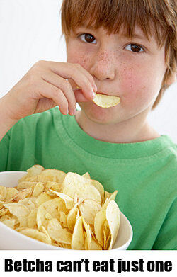 Boy eating chips as catchy slogan examples