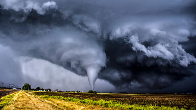 Tornado funnel with clouds