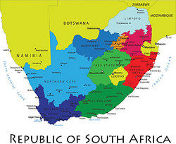 Republic of South Africa map as examples of a republic