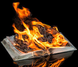 A burning book as examples of blasphemy