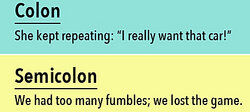 Examples of Colons and Semicolons in Sentences