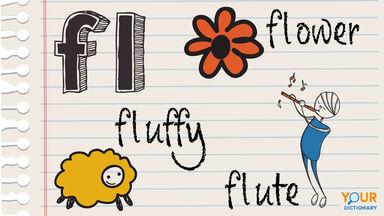 fl consonant blend example fluffy, flute, flower