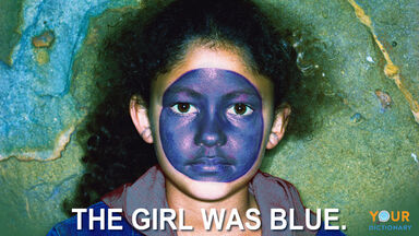 literal denotation of blue with blue face girl
