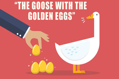 Goose with golden eggs as examples of fables