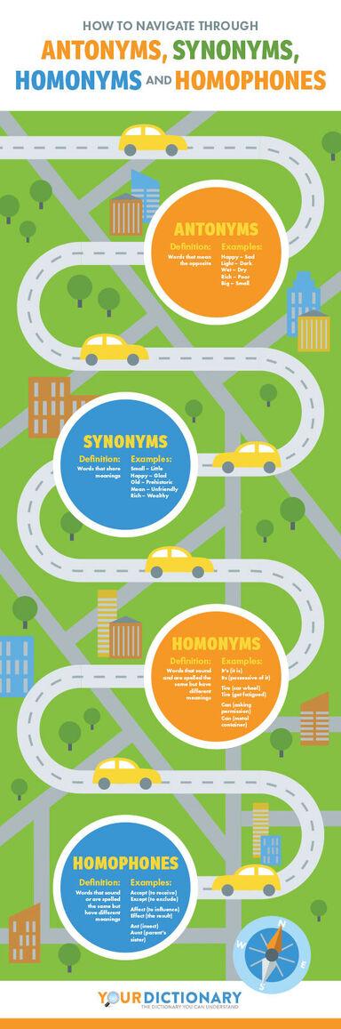 antonyms synonyms homonyms homophones infographic
