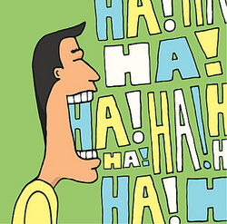 Man laughing as examples of humor
