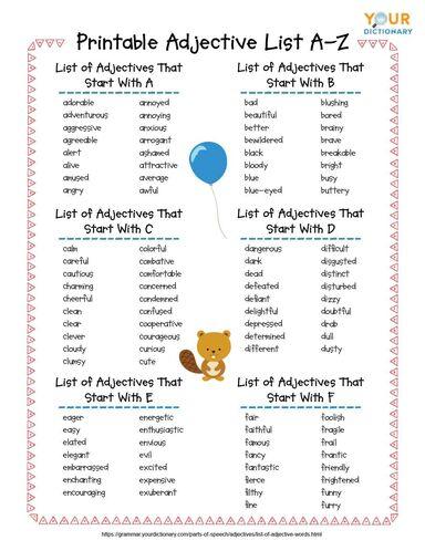 Printable Adjective List A-Z