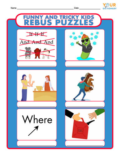 funny and tricky kids rebus puzzles