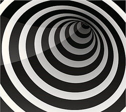 Black and white line illusion as examples of illusion