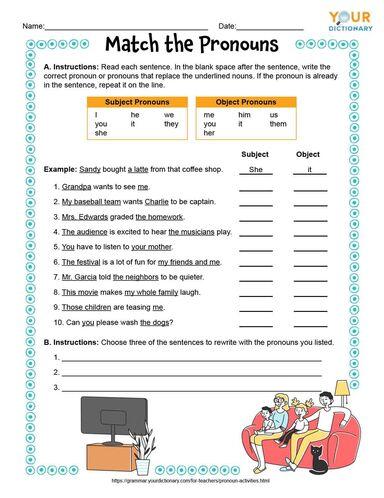 Match the Pronouns Printable Worksheet