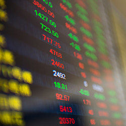 Screen with stocks on it as examples of insider trading