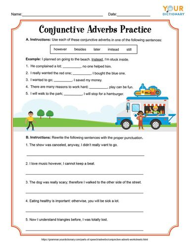 Conjunctive Adverbs Practice