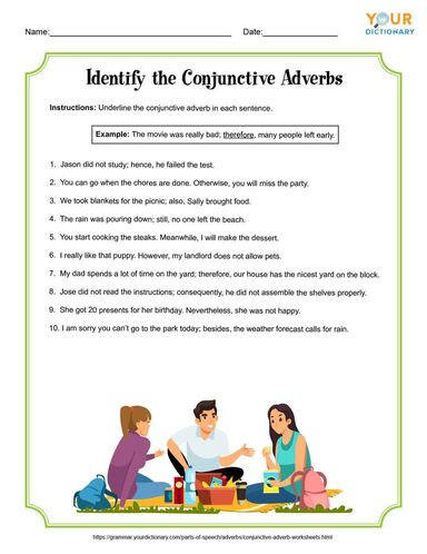 Identify the Conjunctive Adverbs