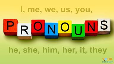 pronoun examples and word on alphabet blocks