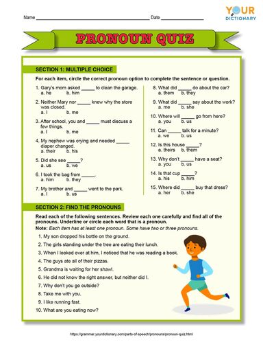 printable pronoun quiz