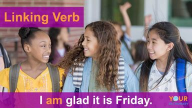 linking verb example I am glad it is Friday