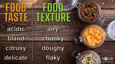 taste and texture words to describe food