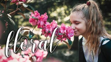 scent word floral girl smelling flowers