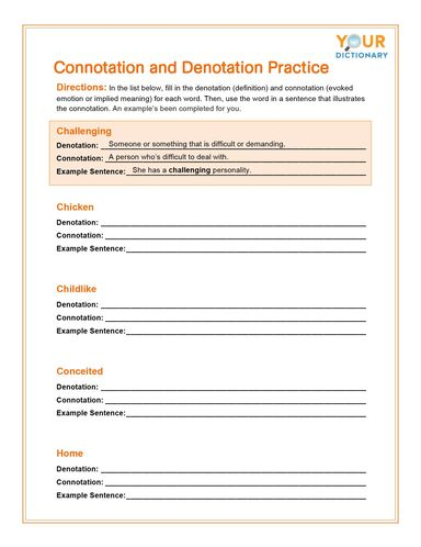 connotation and denotation practice worksheet