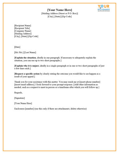 template letter of appeal