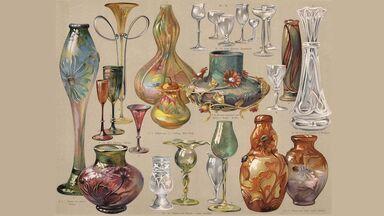 art nouveau vases and glasses
