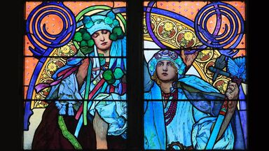 stained glass by Alphonse Mucha Life of Saints Cyril and Methodius