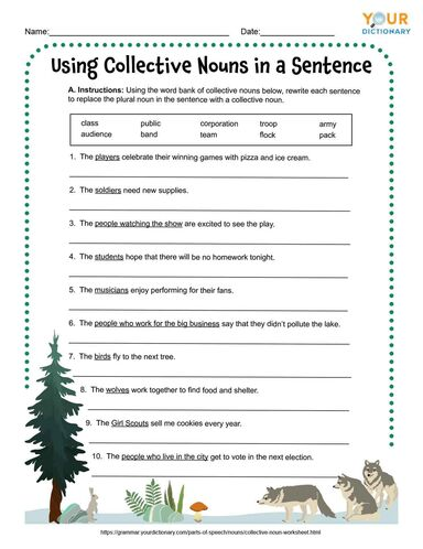 using collective nouns in a sentence