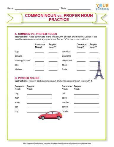 common and proper noun practice worksheet