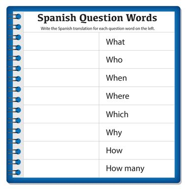 spanish question words worksheet