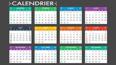 calendar with months in French