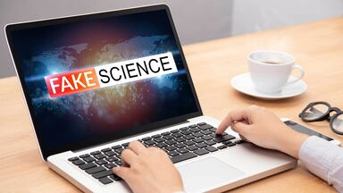 junk science message on laptop