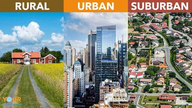 difference between rural and urban and suburban