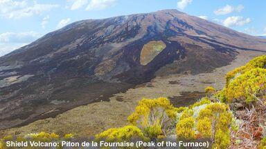 Piton de la Fournaise as shield volcano example