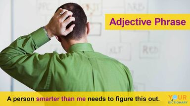 adjective phrase example showing man scratching head