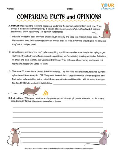 comparing facts and opinions worksheet