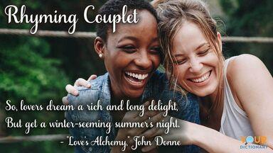 happy couple hugging rhyming couplet poem