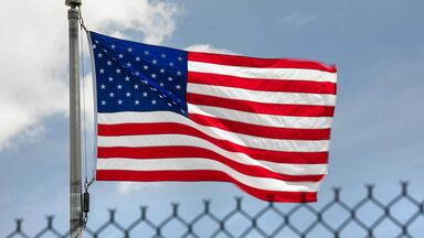 Limited government represented by fence and American flag