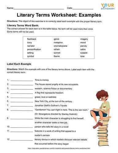 literary terms worksheet examples