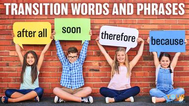 students showing transition words and phrases