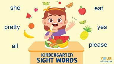 kindergarten sight words examples
