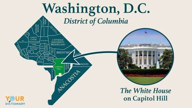 map of washington dc district of columbia white house capitol hill