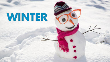 winter word snowman with glasses