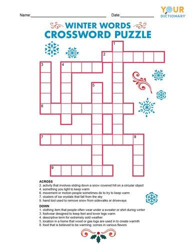 winter words crossword puzzle game printable