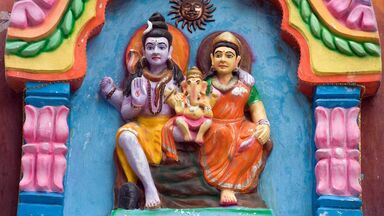 hindu god Shiva with Parvati and infant Ganesh