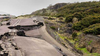 earthquake damage of road