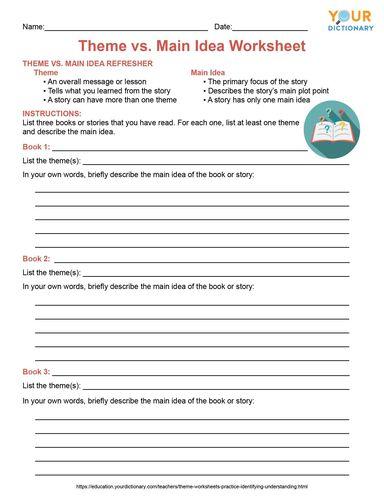 theme vs main idea worksheet printable pdf