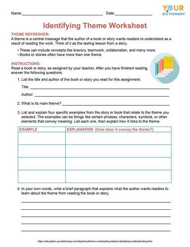 identifying theme worksheet printable pdf
