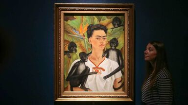 museum image of Self-portrait with Monkeys by Frida Kahlo