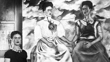 Frida Kahlo with self portrait Me Twice