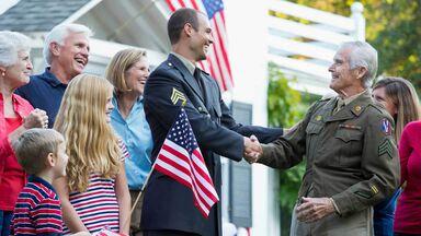 shaking hand of veteran patriotic